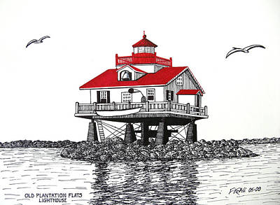 Old Plantation Flats Lighthouse Drawing Poster