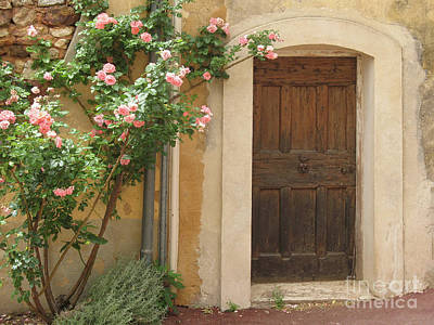 Old Provence Door And Rose Tree Poster by Christiane Schulze Art And Photography