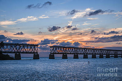 Old Rail Bridge At Florida Keys Poster by Elena Elisseeva