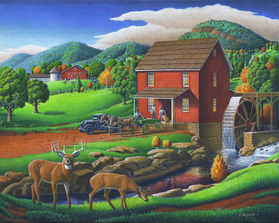 Old Red Appalachian Grist Mill Rural Landscape Oil Painting  Poster