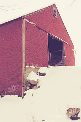 Old Red Barn In Winter Poster by Edward Fielding
