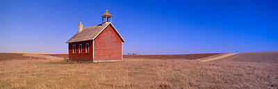 Old Red Schoolhouse On Prairie, Battle Poster by Panoramic Images