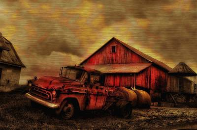 Old Red Truck And Barn Poster by Bill Cannon