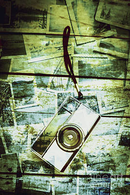 Old Retro Film Camera In Creative Composition Poster