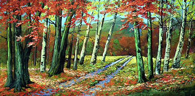 Old Road In Autumn Poster