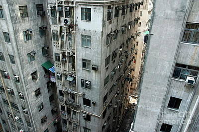 Old Run-down Concrete High-rise Apartment Buildings In Kowloon Poster