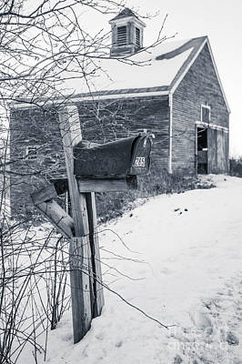 Old Rural Mailbox In Front Of An Old Barn Poster by Edward Fielding