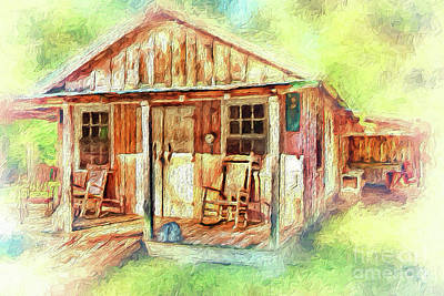 Poster featuring the painting Old Rustic House In The Mountains Ap by Dan Carmichael