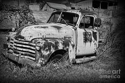 Poster featuring the photograph Old Rusty Chevy In Black And White by Paul Ward