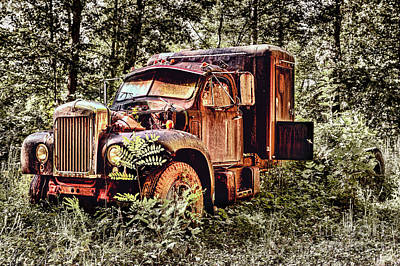 Old Rusty Truck In The Woods - Jocassee Poster by Dan Carmichael
