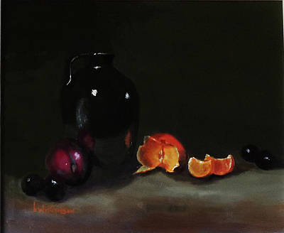 Poster featuring the painting Old Sake Jug And Fruit by Barry Williamson