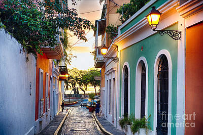 Old San Juan Sunset Glow Poster by George Oze