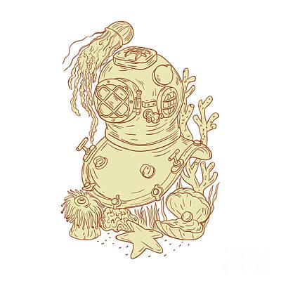 Old School Diving Helmet Underwater Drawing Poster