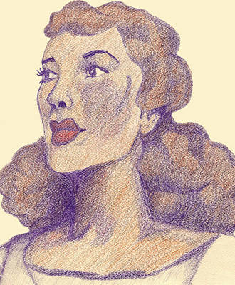 Poster featuring the drawing Old School Hollywood by Jean Haynes