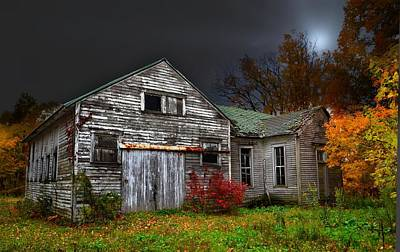 Old School House In Autumn Poster