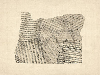 Old Sheet Music Map Of Oregon Poster by Michael Tompsett