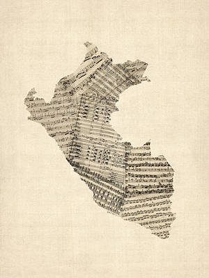 Old Sheet Music Map Of Peru Map Poster by Michael Tompsett