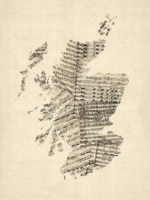 Old Sheet Music Map Of Scotland Poster
