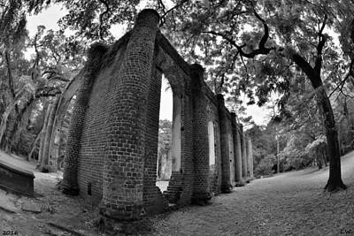 Old Sheldon Church Ruins Black And White 5 Poster