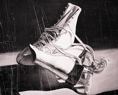 Old Skates Black And White Variation IIi Poster