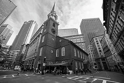 Old South Meeting House Boston Ma Black And White Poster
