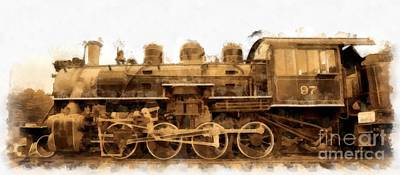 Old Steam Engine Locomotive Watercolor Poster