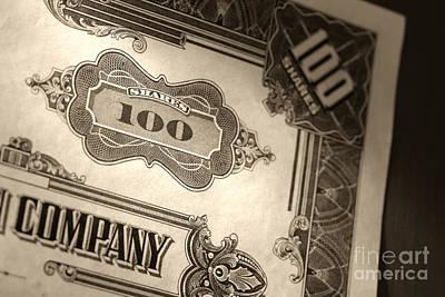 Old Stock Market Shares Vintage Certificate Poster by Olivier Le Queinec