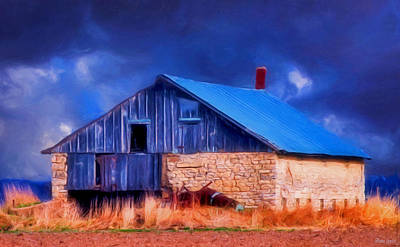 Old Stone Barn Blue Poster