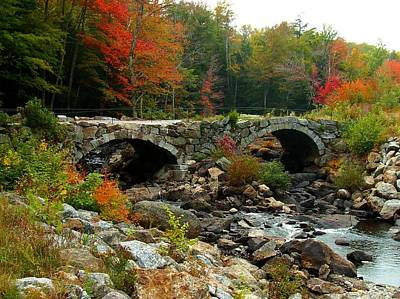 Old Stone Bridge In Fall Poster by Lois Lepisto