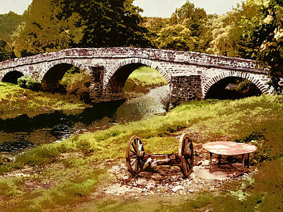 Old Stone Bridge In France Poster
