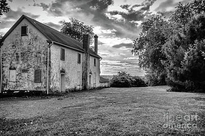 Old Stone House Black And White Poster