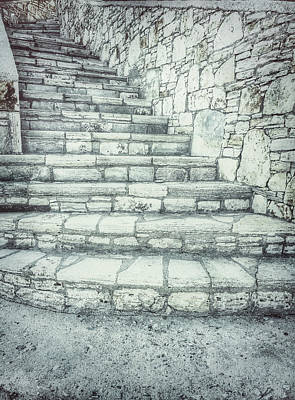 Old Stone Steps Poster by Tom Gowanlock