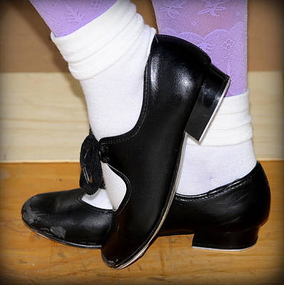 Old Tap Dance Shoes With White Socks And Wooden Floor Poster