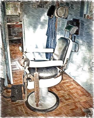 Old Time Barber Shop Sketch 2 Poster