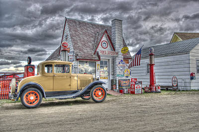 Old Time Gas Station Poster