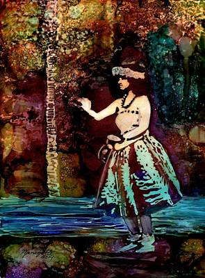 Poster featuring the painting Old Time Hula Dancer by Marionette Taboniar