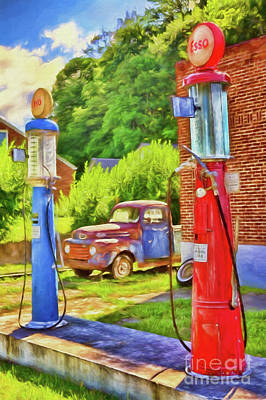 Poster featuring the painting Old Time Vintage Gas Pumps Ap by Dan Carmichael