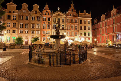 Old Town Of Gdansk By Night In Poland Poster by Artur Bogacki