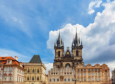 Old Town Of Prague Buildings, Czech Republic. Tyn Church With Historic Tenement Houses Poster