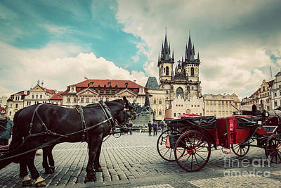 Old Town Of Prague, Czech Republic. Horse Carriage For Tourists. Tyn Church, Vintage Poster by Michal Bednarek