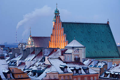 Old Town Of Warsaw Snowy Roofs In Winter Poster by Artur Bogacki