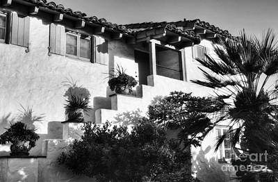 Old Town San Diego Shadows Bw Poster