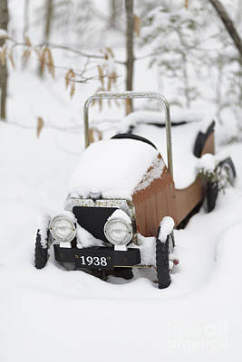 Old Toy Car In The Snow Poster by Edward Fielding