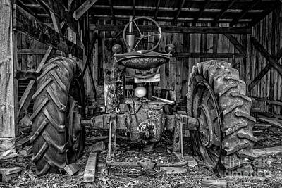 Old Tractor In The Barn Black And White Poster by Edward Fielding