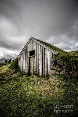 Old Traditional Sod Barn Iceland Poster