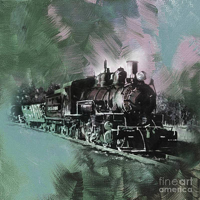 Old Train On A Track  Poster