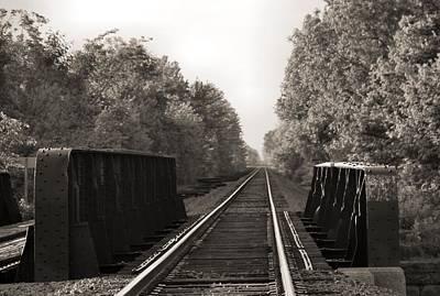 Old Train Tracks On Bridge Poster