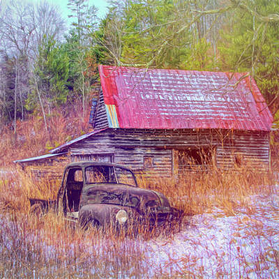 Old Truck On A Snowy Farm In Painterly Soft Tones Poster