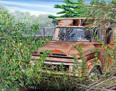 Poster featuring the painting Old Truck Rusting by Marilyn  McNish