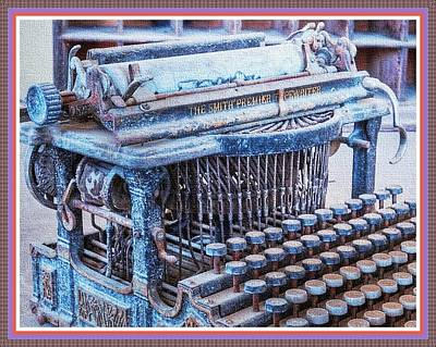Old Typewriter H B With Decorative Ornate Printed Frame. Poster by Gert J Rheeders